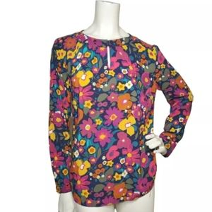 Talbots Womens Popover Blouse Size S Floral